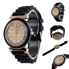 Clásico Diamante Imitacion Geneva Goma Correa De Reloj Pulsera De Mujer Muñeca