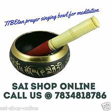 Tibetan Buddhist SINGING BOWL for Meditation Prayer Black & Golden finish.