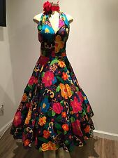 Vintage Floral Prom Dress Custom, Mexican,L,Rockabilly, Vintage Look,80's,frida,