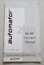 Automator URC-200 Universal Remote Control Owner's Manual Instruction Booklet