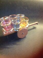 Vintage Retro Shot Glass Set In Stand Wooden Cart Kitsch 1950s Cocktail Bar