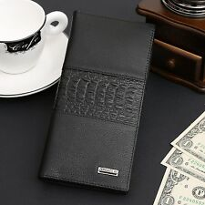 Fashion Men's Genuine Leather Long Wallet Pockets Money Bifold Purse Card Clutch