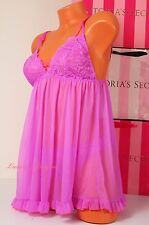 NWT Victoria's Secret Lingerie Set Fly-away Tulle Babydoll Lace S Cheeky Lilac