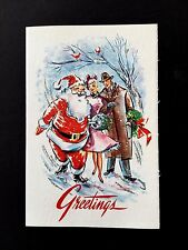 Vintage Glittered Sample Xmas Greeting Card Santa Flirting with a Pretty Lady