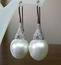 SOUTH SEA PEARLS 15.4mm!! UNTREATED +DIAMONDS +18ct SOLID W GOLD EARRINGS +CERT