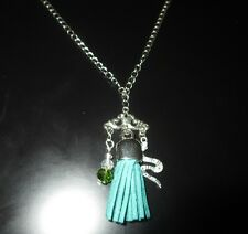 Slytherin House Harry Potter Necklace in Green and Silver Tone Snake Charm