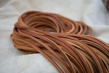 SADDLE TAN LEATHER 3.5mm SQUARE SHOE / BOOTS LACES THONGS EXTRA  STRONG 120CM