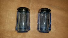 BLUE DEPRESSION GLASS SALT AND PEPPER SHAKERS FREE SHIPPING
