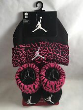 New Nike Air Jordan Baby Cap Hat & Booties Gift Set Pink Black 0-6 Months Girls