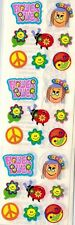 Sandylion Stickers - FLOWER POWER LOVE PEACE HIPPIES YIN YANG  - 3 squares