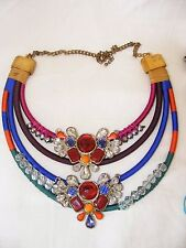 GORGEOUS DESIGNER NECKLACE BRIGHT RAINBOW COLOURS HAND MADE ETHNIC STYLE