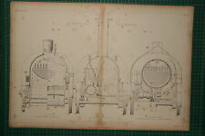 1855 LARGE LOCOMOTIVE PRINT ~ D. GOOCH'S FIRE-BOX SECTION END ELEVATION