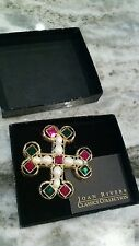 Statement Joan Rivers red green crystal faux pearl cross  gold tone  pin brooch