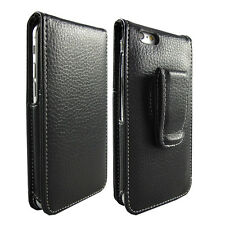 BLACK GENUINE REAL LEATHER VERTICAL FLIP CASE FOR APPLE iPHONE 6S (4.7 INCH)