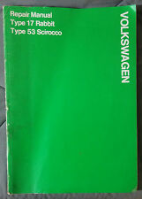 1974 75 VW RABBIT SCIROCCO FACTORY OEM SHOP SERVICE MANUAL TYPE 17 53 VOLKSWAGEN