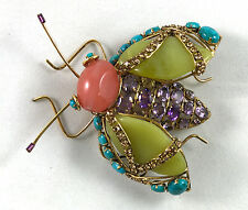 C & D gilt brass w/antique bug pin brooch Cherry Quartz/Amy/Olive Jade/Turquoise