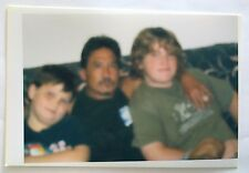 Vintage PHOTO BLURRY Pictures of 2 Kids With Their Uncle