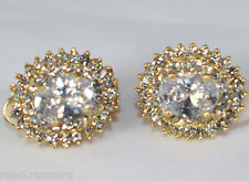 Earrings rhinestone Oval design clip on studs costume jewellery E51745