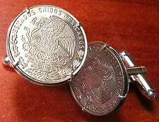Mexican Golden Eagle on Cactus Killing Snake Mexico Coat of Arms Coin Cufflinks!