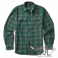 RRL Ralph Lauren Vintage Inspired Classic Cotton Plaid Twill Work Shirt-MEN- L