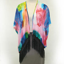 NEW NWT Cocoon House Watercolor 100% Silk Fringe Kimono Blouse Large/XL (1X, 2X)