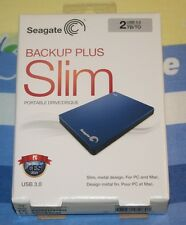 NEW Seagate Backup Plus Slim 2TB Portable External Hard Drive STDR2000102 Blue