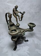 """Antique 19th Century Victorian Bronze Figural Candle Holder Woman and Child 7.5"""""""