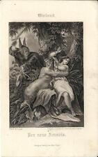 Stampa antica WIELAND Der neue Amadis fauno 1860 Old antique print Alte stich