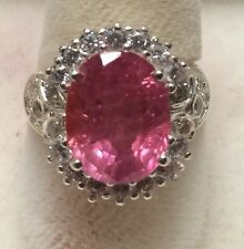 6.44CT BIG NATURAL INTENSE PINK SAPPHIRE 925 SILVER RING SIZE 6.5