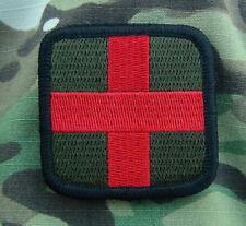 "Medic Red Cross Tactical Patch OD Green & Red Velcro 2""x2"" inches"