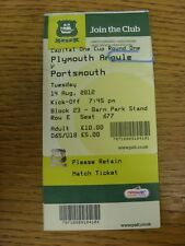 14/08/2012 Ticket: Plymouth Argyle v Portsmouth [Football League Cup] (crease).