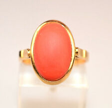 14K YELLOW GOLD 5/8 INCH OVAL CORAL RING FROM ITALY SIZE 7