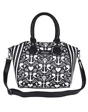Disney Little Mermaid Ariel Anchor Print B & W Satchel Hand Bag Purse Rare NWT!