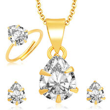 Sukkhi Brilliant Pecock Gold and Rhodium Plated CZ Pendant Set - Ring Combo For