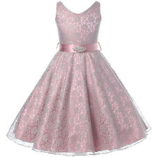 SILVER Lace Flower Girl Dresses Bridesmaid Wedding Birthday Party Pageant Formal