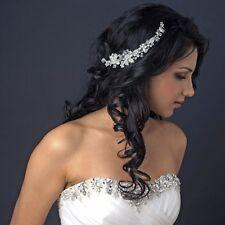 Silver Vintage Side Accented Crystal Rhinestone Bridal Wedding Hair Tiara Clip