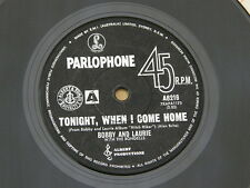 """BOBBY AND LAURIE TONIGHT PARLOPHONE orig OZ GARAGE FRAT BEAT 7"""" 45 HEAR"""