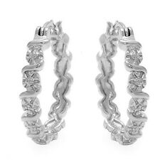 Lovely Earrings W/Genuine Diamond Crafted in 925 Sterling Silver