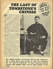 Tombstone, The Last of the Chinese Colony + Genealogy