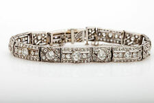 Antique 1920s $20,000 7ct Old Euro Diamond Platinum Filigree Bracelet RARE