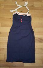 Azul Marino Vestido Lápiz Reina de Holloway Rockabilly Con Cuello Halter UK 12