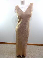 VTG LET'S FASHION WOMENS PEACHY PINK BEADED FORMAL DRESS SIZE L