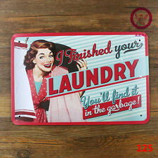 Vintage Tin Sign Decor Metal Bar Store Poster Pin Up Sexy Lady Laundry Slogan