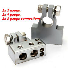 Pair silver Tone Car Postive Negative Battery Terminals Clamp 2 4 8 Gauge Car