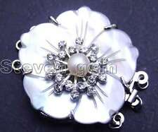 SALE Big 35mm Shell Cameo &7-8mm natural Pearl 3 strings White crystal Clasp-124