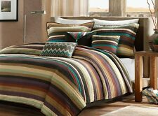 Southwest Turquoise Native American Twin Quilt, Sham & Toss Pillows 5 Piece Set