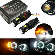 2 High Power 7443 7444NA 3030 SMD White Yellow LED Switchback Turn Signal Lights