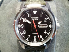 Citizen Eco-drive military watch BM8180-03E Brand New & Boxed. Army canvas strap