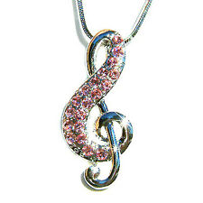 Pink w Swarovski Crystal TREBLE g CLEF MUSIC NOTE Musical Charm Pendant Necklace