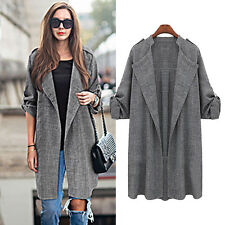 Womens Waterfall Open Front Trench Duster Coat Lapel Jacket Cardigan Tops Cloak